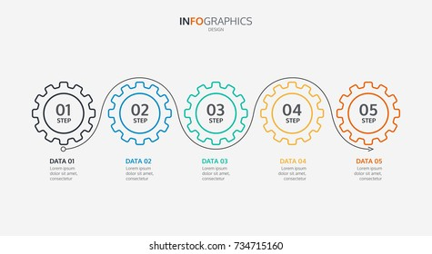 Business infographics. Timeline with 5 cogs design,Can be used for workflow layout, diagram, business step options. Vector illustration
