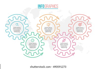 Business infographics. Timeline with 5 steps, gears, cogwheels.