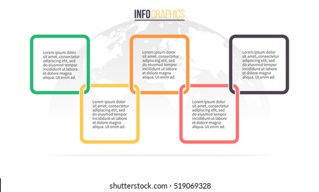 Business infographics. Timeline with 5 steps, squares. Vector infographic element.