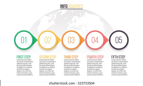 Business infographics. Timeline with 5 steps. Vector infographic element.
