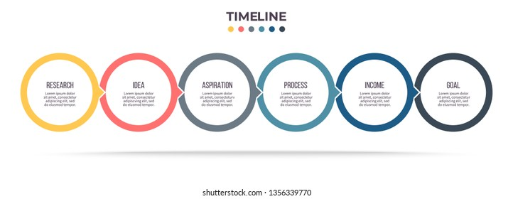 Business infographics. Timeline with 6 steps, options, circles. Vector chart.