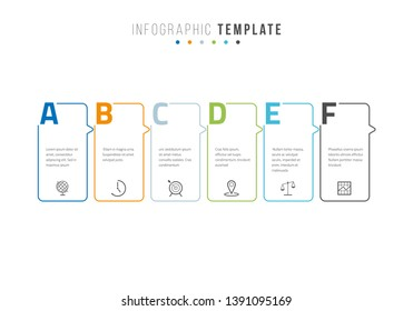 Business infographics timeline design template with icons and 6 steps. Can be used for workflow layout, diagram, annual report, web design