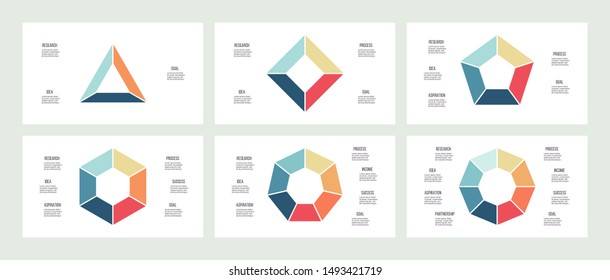 Business infographics. Triangle, square, pentagon, hexagon, heptagon, octagon. Charts with 3, 4, 5, 6, 7, 8 steps, options. Vector diagram.