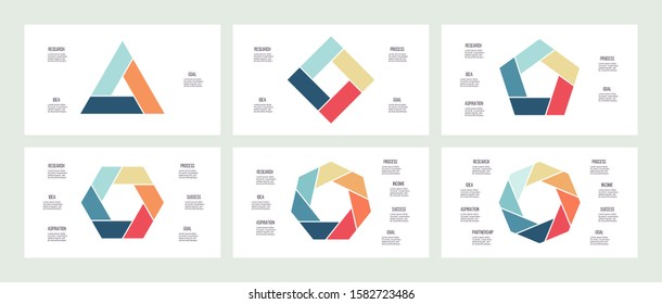 Business infographics. Triangle, square, pentagon, hexagon, heptagon, octagon Charts with 3, 4, 5, 6, 7, 8 steps, options. Vector diagram.