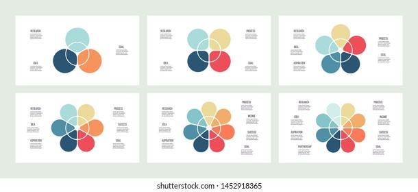 Business infographics. Vector flower chart with 3, 4, 5, 6, 7, 8 steps, options, processes, petals. Vector diagrams.