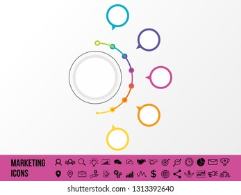Business Infographics Vector Illustration Data Visualization. Abstract Elements of graph, diagram with 5 Step Option and Marketing Icons can be used for workflow layout, presentation, diagram, reports