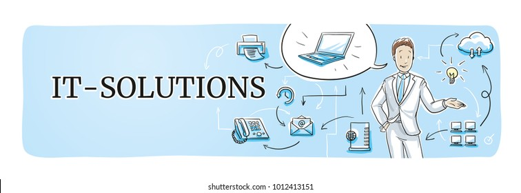 Business information technology it-solutions web banner for blog or website header with smiling business man and icons. Hand drawn cartoon sketch vector illustration, whiteboard marker style coloring