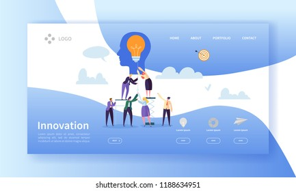 Business Innovation Landing Page Template. Creative Idea Website Layout with Flat People Characters and Light Bulb. Easy to Edit and Customize Mobile Web Site. Vector illustration
