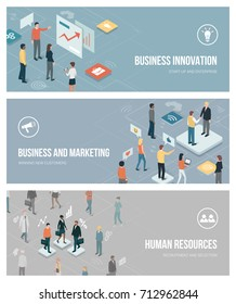 Business innovation, marketing and human resources banners set with isometric characters and app buttons