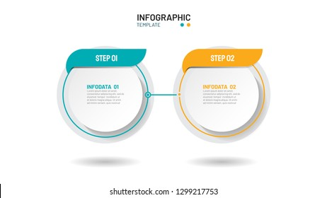 Business inographics template thin line process design with circles shape. Timeline with 2 steps, options. Vector illustration.Can be used for workflow layout, diagram, graph, flow chart, web design.