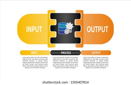 Business Input output process function infographics template. Vector illustration, EPS10 can be used for workflow layout, diagram, business step options, banner, web design.