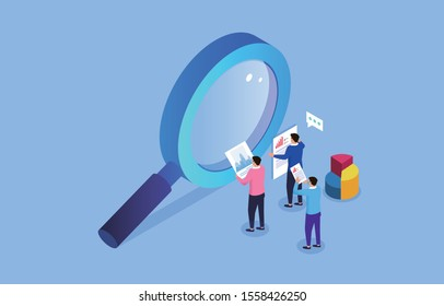 Business insights and opinions, three businesses holding a report stand next to a magnifying glass