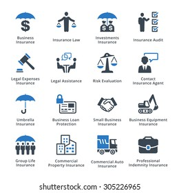 Business Insurance Icons - Blue Series