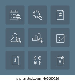 Business integrated audit icon set. Thin outline symbols of financial, annual and hr audit with icons of calendar, magnifying glass, document, employee, chart, tick, fiscal report, signs of currency