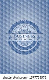Business Intelligence blue emblem with geometric pattern background. Vector Illustration. Detailed.