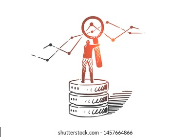 Business intelligence concept sketch. Businessman standing on heap of gear wheels and looking at business statistics analysis through magnifier. Hand drawn isolated vector illustration