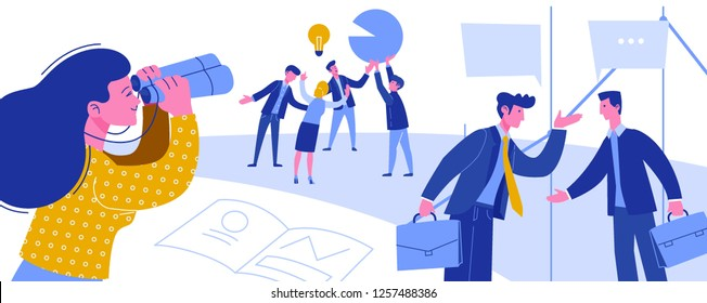 Business Intelligence Creative Idea Thievery. Economic Spying for Businessman. Woman Looking to Binoculars Industrial Espionage Horizontal Scene Flat Cartoon Vector Illustration