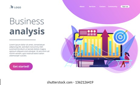Business intelligence experts transform data into useful information. Business intelligence, business analysis, IT management tools concept. Website vibrant violet landing web page template.