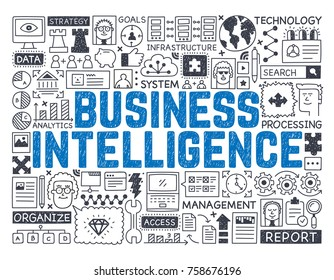 Business Intelligence - Hand drawn vector illustration
