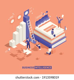 Business intelligence isometric background with group of creative staff characters puzzle game elements and tutorials vector illustration