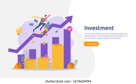 Concept d'investissement des entreprises. pile de dollars, personnage, objet monétaire. augmentation du graphique. La croissance financière monte jusqu'au succès. modèle de page d'accueil de conception à plat illustration vectorielle