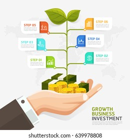 Business investment concept. Growth investment conceptual. Hands of businessman have money coins. Can be used for diagram, infographics template, timeline template, web design.