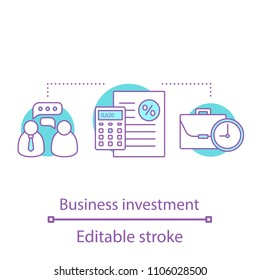 Business investment concept icon. Finance management. Banking idea thin line illustration. Deposit. Vector isolated outline drawing. Editable stroke