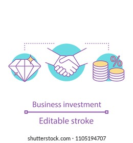 Business investment concept icon. Partnership idea thin line illustration. Business deal. Agreement. Vector isolated outline drawing. Editable stroke