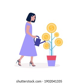 Business investment concept. Young woman waters the plant with coins. Vector illustration in a flat style