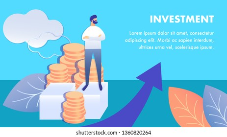 Business Investment Flat Banner Vector Template. Successful Entrepreneur Cartoon Character. Financial Literacy, Profit Increase, Budget Growth. Money Management Illustration with Copyspace