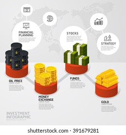 Business investment funds concept infographic step to successful,vector illustration