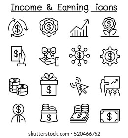 Business investment, Income ,earning icon set