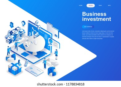 Business investment modern flat design isometric concept. Money and people concept. Landing page template. Conceptual isometric vector illustration for web and graphic design.