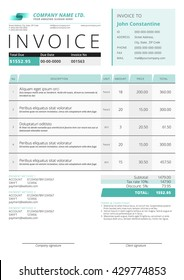 Business invoice template. Vector illustration. Invoice form. Stationery design