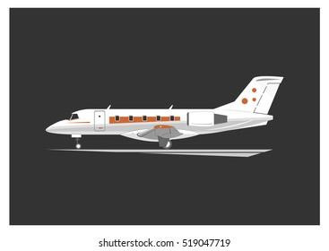 Business jet isolated on background. Vector illustration