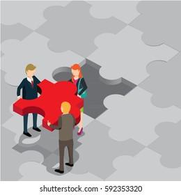 business jigsaw puzzle isometric