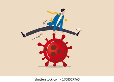Business to jump over pass financial problem, survive and win in Coronavirus outbreak COVID-19 economic crisis concept, confidence businessman leader easily jump over COVID-19 Corona virus pathogen.