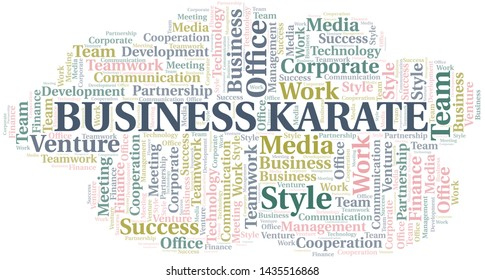 Business Karate word cloud. Collage made with text only.