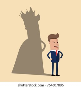 Business king. Businessman with shadow as king. Man leader, success boss, human ego. Vector illustration