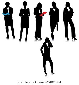 Business ladies  silhouettes.Vector