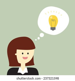 Business lady suddenly got the idea. Speech bubble with a lamp.