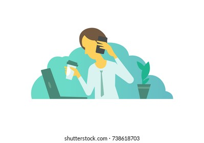 Business lady woman girl calls on business. Talking on the phone. looking for something in laptop sitting at the table. Telephone sales