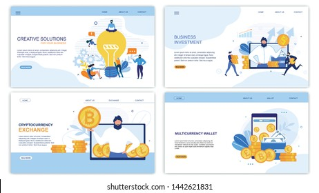 Business Landing Page Set for Earning Money and Increase Profit. Creative Solution Generation, Profitable Investment, Cryptocurrency Exchange and Multicurrency Wallet App. Vector Flat Illustration