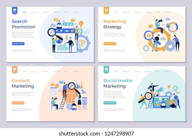 Business landing pages. Marketing website design layout template people promotion modern vector pictures