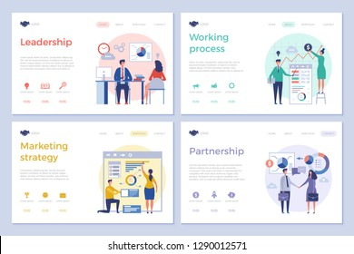Business landing pages. Web design ui template clean design pictures businessmen office managers directors team work vector pictures
