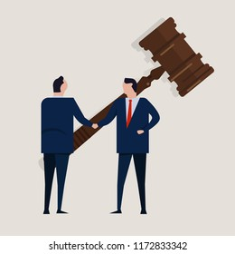 Business law legal contract people agreement standing handshake with big gavel. Concept of settlement in court