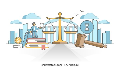Business law with legal rules and rights regulation statement outline concept. Ethical and moral company justice protection vector illustration. Lawyer company protection with paper works knowledge.