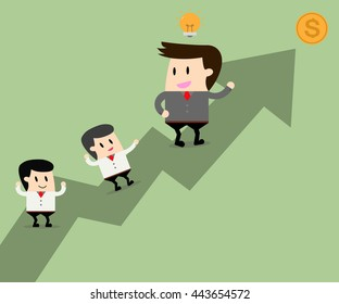 Business leader have ideas and teamwork go together