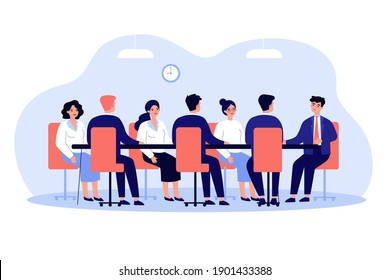 Business leader holding corporate meeting with team in boardroom. Politician talking to staff at round conference table. Vector illustration for authority, chairman, negotiations, discussion concept
