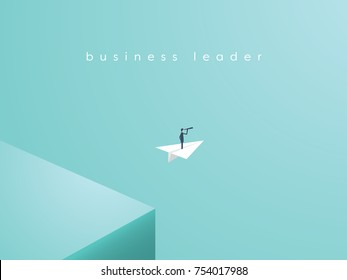 Business leader leaving comfort zone on a paper plane. Business vector concept of adventure, opportunity, entrepreneurship. Eps10 vector illustration.
